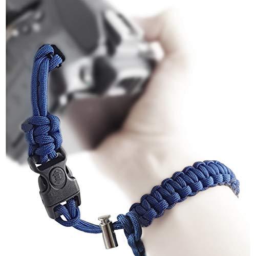 Correa de mano para cámara de paracaídas, 2 cierres de clic con bloqueo y tope para cámaras réflex digitales y compactas, color azul