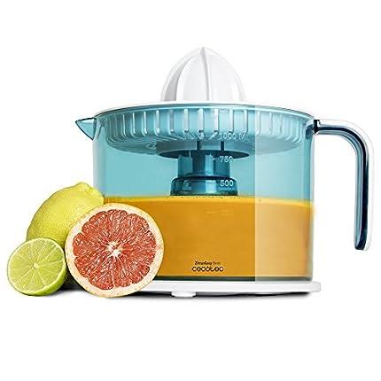 Cecotec Exprimidor Naranjas Eléctrico ZitrusEasy Basic. 40 W, Tambor de 1 litro BPA Free, Doble sentido de giro, Doble cono, Cubierta antipolvo, Color azul/blanco