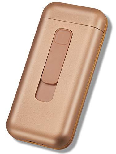 Pitillera Caja De Caja De Cigarrillos Bolsillo De Metal con Encendedor Eléctrico USB para Delgado Cigar20pcs Capacidad para Los Hombres,Gold