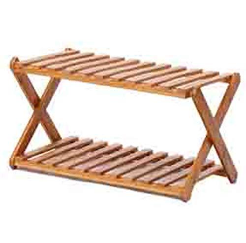 DXZ-Schuhregal Natürlicher Bambus Klappschuhschrank 2 Schichten vertikal staubdicht multifunktionales Lagerregal spart Platz - (22cm × 28cm × 50cm)