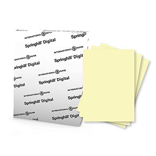 """Springhill 8.5"""" x 11"""" Canary Colored Cardstock Paper, 90lb, 163gsm, 250 Sheets (1 Ream) – Premium Lightweight Cardstock, Printer Paper with Smooth Finish for Cards, Flyers, Scrapbooking & More – 035100R"""