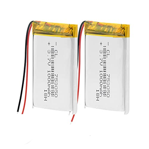 2 unids 3.7 V 1000 mAh 753050 batería recargable Li-Po Polímero, para MP3 Mp4 Cámara Banco de Energía Bluetooth Micrófono Bicicleta Luz Trasera Led