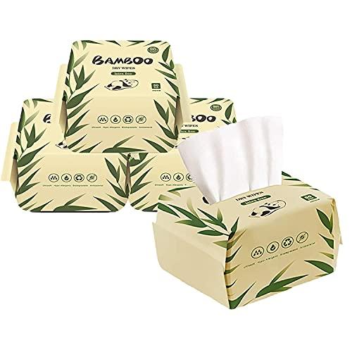 JINYUDOME Toallitas secas de bambú para piel sensible, ultra suaves y suaves, 7.9 x 7.9 pulgadas multiusos. 50 toallitas por paquete, 4 unidades