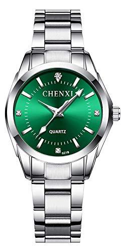 Reloj de pulsera de acero inoxidable de plata de la manera clásica de las mujeres