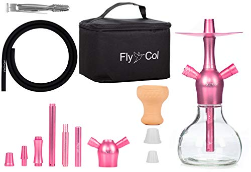 FlyCol Nano X Mini Shisha Set de viaje   Shisha de viaje con accesorios y bolsa   Cachimba pequeña para viaje Mini Shisha Nano Hookah (rosa)
