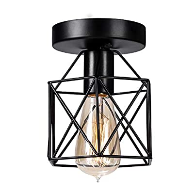 Semi-Flush Mount Ceiling Light Fixture, E26 Industrial Metal Cage Ceiling Light in Matte Black Finish for Entrance Porch Hallway Kitchen Stairway Farmhouse Lighting, 1 Pack(Bulb not Included)