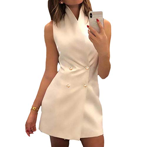 Mujeres Slim Fit Blazers Vestido Elegante Sin Mangas Doble Botonadura Fiesta Casual Color Sólido Oficina Vestido