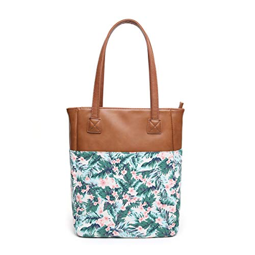 Aitbags Canvas Tote Bag for Women PU Leather Floral Purse and Handbag Shopping Bag Work Satchel