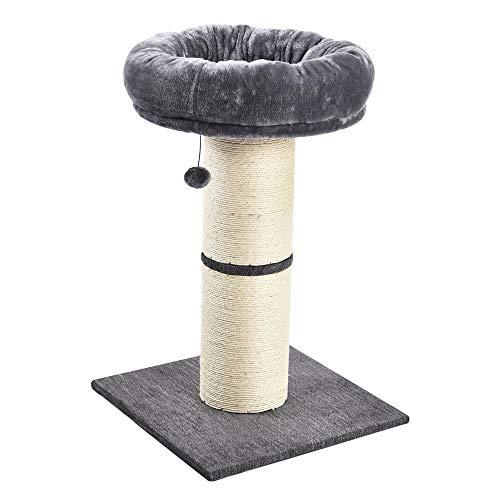 allpetsolutions Großer Kratzbaum für Katzen, mit Plüsch-Gemütesbett, breiter Kätzchen, Spielcenter mit baumelndem Ball Spielzeug, Hellgrau, 74 cm, 5000 g