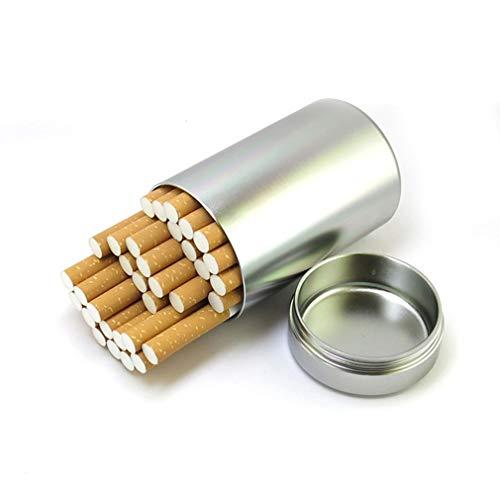 QLIGHA Metall Zigarettenetui mit Gummiring Dichtung Große Kapazität wasserdichte Outdoor-Tabak Teekanne Halten Sie 30 gewöhnliche Zigaretten,Silber,30sticks
