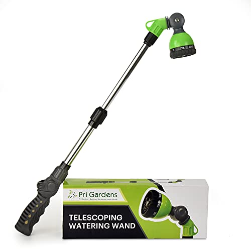 Watering Wand 18'- 24', Zinc Alloy Handle, Stainless Steel Tube, Ratcheting Head, Thumb Control and Soft Handle.