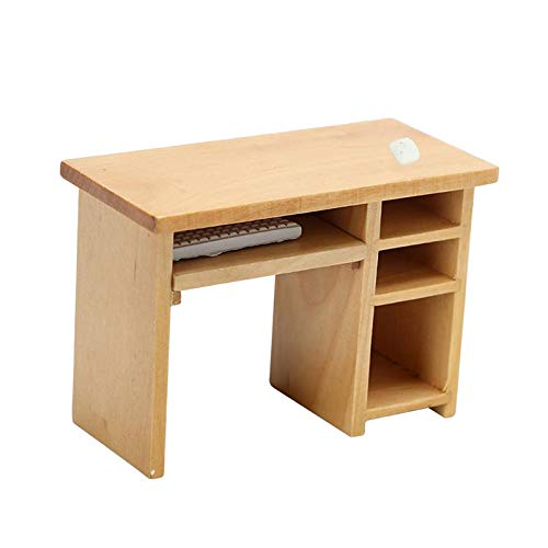 1:12 Doll House Mini Computer Desk with Mouse and Keyboard Supplies Scenery