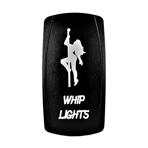 STV Motorsports 5 Pin Laser Lighted Whip Lights Rocker Switch On-Off LED Light 20A 12V for UTV, Truck, Boat, ATV Off-Road Vehicles - White