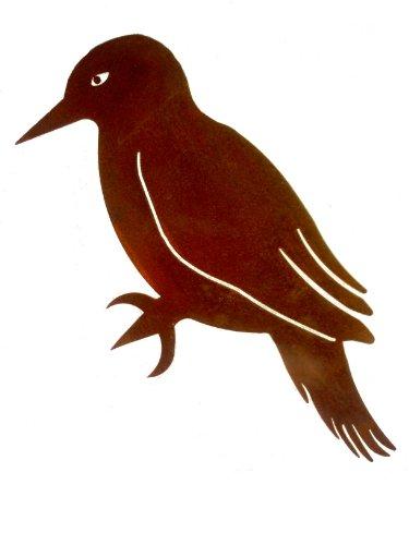 Crispe Kleiner Deko Eisen Specht Vogel zum Anbringen an Baum, Holz in Edelrost