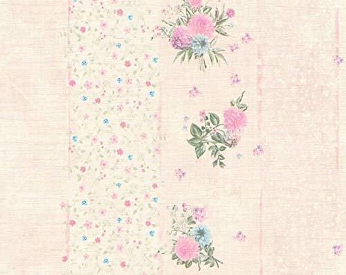 Carta da parati floreale a righe stile shabby chic colori...