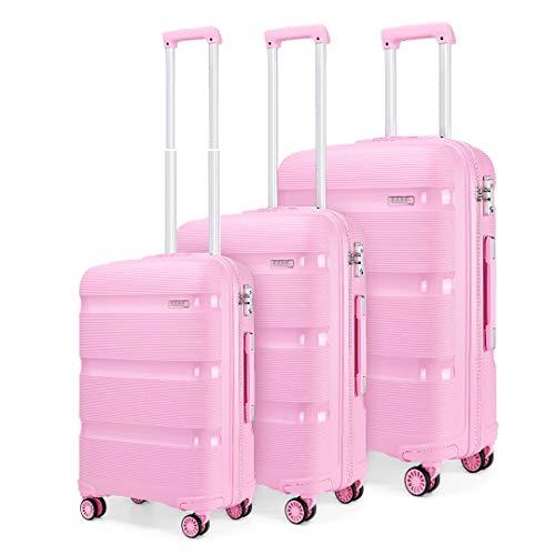Kono Polypropylen Hartschalen TSA Schloß 3tlg. Kofferset Zwillingsrollen Trolley Koffer 55cm Bordgepäck/65cm/76cm (Pink, Set)
