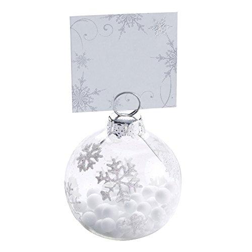 Neviti Shimmering Snowflake, Baumkugel-Tischkartenhalter, Mehrfarbig, 6Stück