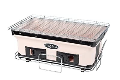 Fire Sense Large Rectangle Yakatori Charcoal Grill | Japanese Ceramic Clay Grill | Tabletop Grill for Backyard, Outdoor Cooking, Camping | Chrome Cooking Grill, Internal Charcoal Grate, and Stand