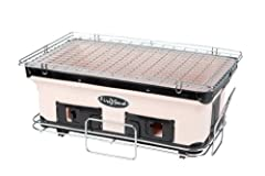 This outdoor cooking grill uses charcoal as its source of fuel. This BBQ grill comes with a charcoal grate and cooking grill included. This charcoal BBQ grill has been specially designed to be used on a tabletop. This outdoor grill features a handmad...