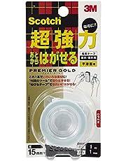 スコッチ 両面テープ あとからはがせる超強力プレミアゴールド 幅15mmx1m KRG-15