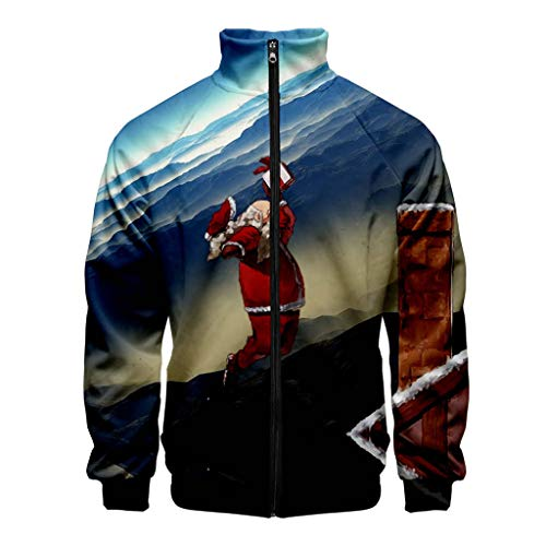 Price comparison product image Zylione Mens 3D Print Sweat Jacket Christmas Printed Coat Long Sleeves with Zipper Funny Pullover Sweatshirt Jacket Stand Collar