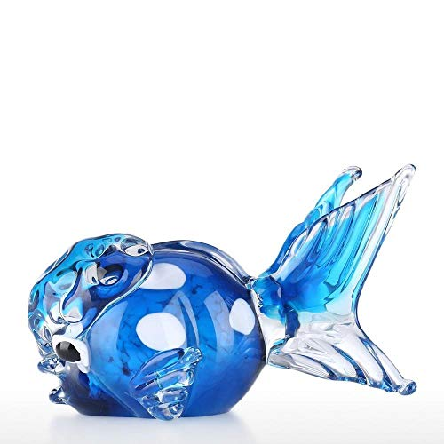 BIPL Figura de Animal Marino de pez de Cristal Azul, Arte soplado a Mano, decoración de Oficina en casa, Accesorios de decoración del hogar, Azul Oscuro