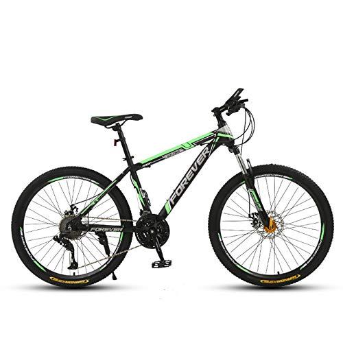 WLWLEO Bicicleta de montaña de 26 Pulgadas para Adultos Bicicletas para Hombre Estructura de Acero con Alto Contenido de Carbono, Freno de Disco Doble Bicicleta de Velocidad Variable,B,26' 30 Speed