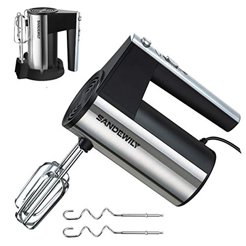 Hand mixer Electric,5 Speed 150W Ultra Power Kitchen Handheld Mixer with Storage Case and 4 Stainless Steel Accessories,Whipping Mixing Cookies, Brownies, Cakes, Dough, Batters, Meringues