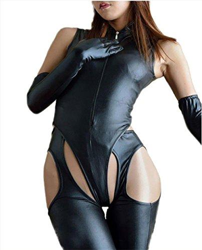 XSQR Frauen Sexy Lackleder Dessous Kostüm Catwoman Latex Catsuit PVC Body Overall Kleid Clubwear Dreiteilig