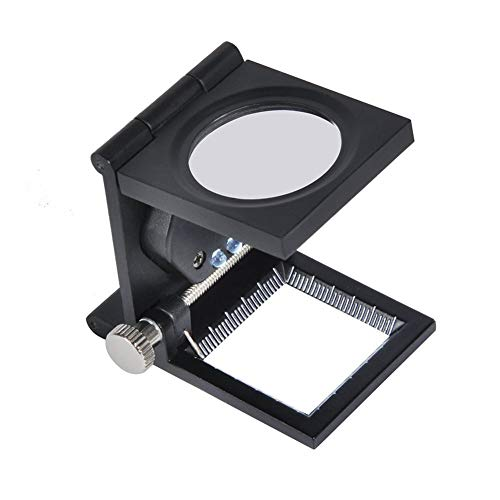 10X 28mm Mini Three-Folding Magnifying Glass Portable Pocket Magnifier Zinc Alloy LED Lights Loupe with Scale for Reading Books, Textile, Collection, Repair, Jewelry Tool