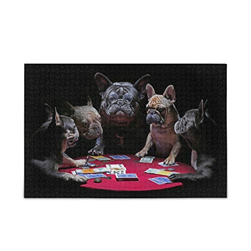 Jigsaw Puzzle 1000 Piece French Bulldog Playing Cards Wooden Puzzle for Adults Teens Kids