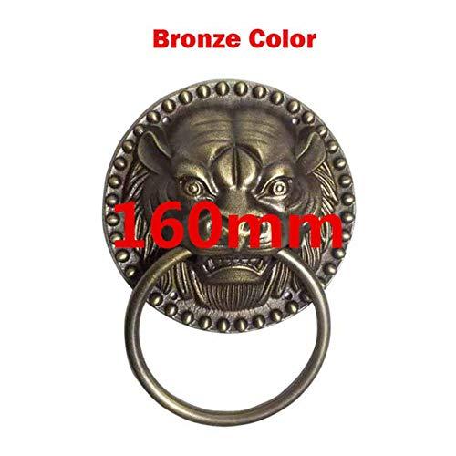 Qingsb 1 stks oude stijl massief houten deurklopper tijgerkop voordeur knock leeuwenkop koperen handvat oude villa outdoor ring knop, 160mm bronskleur