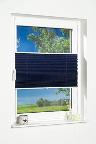 K-home Klemmfix-Plissee Palma Blau 70 x 130 cm (B x L) Lichtschutz +++ Moderne Crushed Optik +++