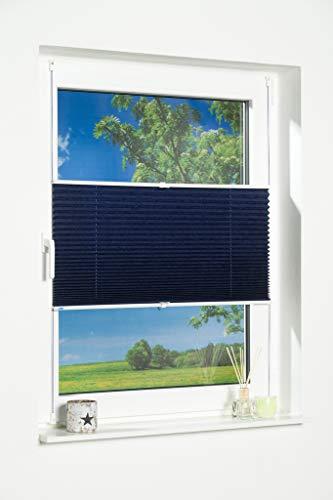 K-home Klemmfix-Plissee Blau 50 x 130 cm (B x L) Lichtschutz +++ Moderne Crushed Optik +++