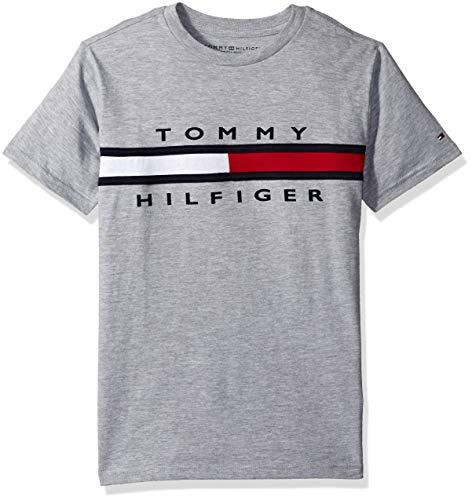 Tommy Hilfiger Big Boy's Flag T-Shirt Shirt, Grey Heather, Medium (12/14)