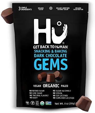Hu Gems Chocolate Vegan Snacks Organic Paleo Gluten Free Dark Chocolate Chips Baking and Snacking product image