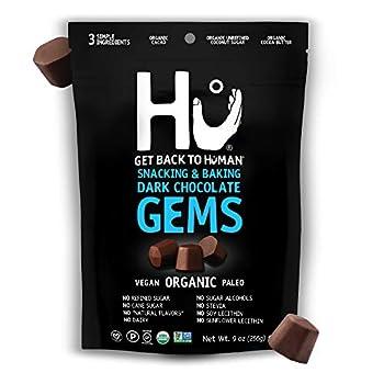 Hu Gems Chocolate Vegan Snacks | Organic Paleo Gluten Free Dark Chocolate Chips | Baking and Snacking Chips | Plant Based Non GMO Kosher | 9oz