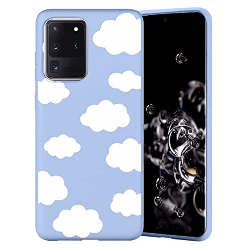 Yoedge Funda de Silicone para Samsung Galaxy A30 / A20 (6,4'), Mate Púrpura Silicona TPU Elegante Dibujos Carcasa, Suave Antigolpes Bumper Protectora Case para Samsung A30 - Nube