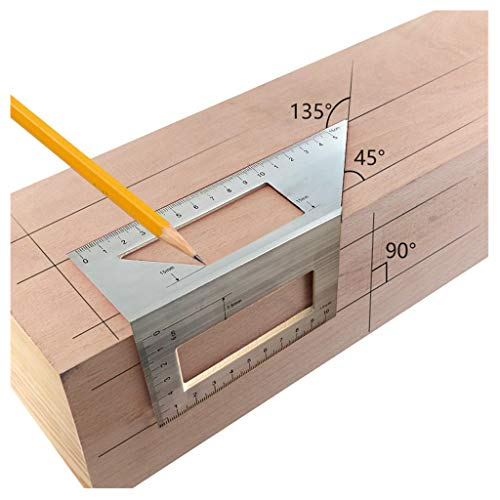 ErYao 45/90 Degree Layout Miter Gauge, Japanese Aluminum Saddle Layout Square Woodworking Scribe Ruler,45/90 Degree Angle T Ruler (Silver)