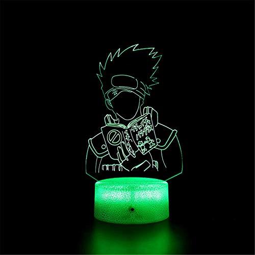 Lámpara de ilusión 3D 3D Naruto Hatake Kakashi de 16 colores regulable con control remoto inteligente táctil, regalos de Navidad y cumpleaños para niños y niños