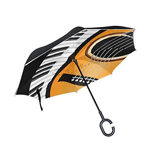 Umkehrbarer Schirm, Klavier-Wellenrand mit Gitarre, Winddicht, Umkehr-Regenschirm, Regenschirme mit UV-Schutz, umgekehrter Regenschirm mit C-förmigem Griff