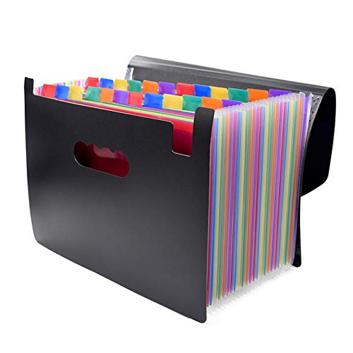 Wjmss 24 Pockets Classified File Folder A4 Organizer Business File Office Supplies Document Holder with Cover