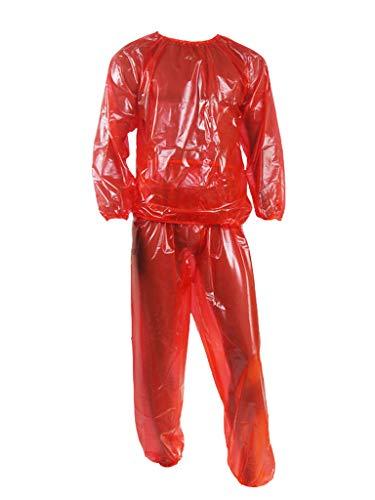Haian PVC Jogginganzug Saunaanzug (X-Large, Transparent Rot)