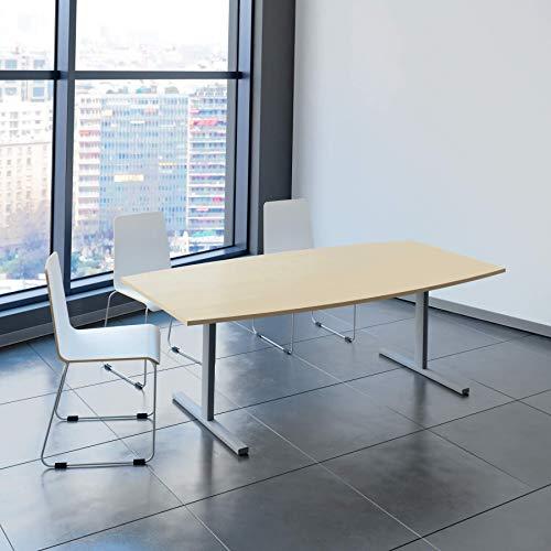 Weber Büroleben GmbH Easy Konferenztisch Bootsform 200x100 cm Ahorn Besprechungstisch Tisch, Gestellfarbe:Silber