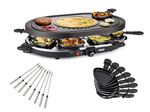 Raclette ovaal en grill set met tapijtvorken voor 8 personen, geïntegreerd Crêpefvlak, 1200 watt, anti-aanbaklaag