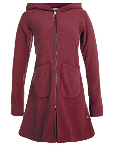 Vishes - Alternative Bekleidung - Einfarbiger Eco Fleecemantel mit Kapuze dunkelrot 46