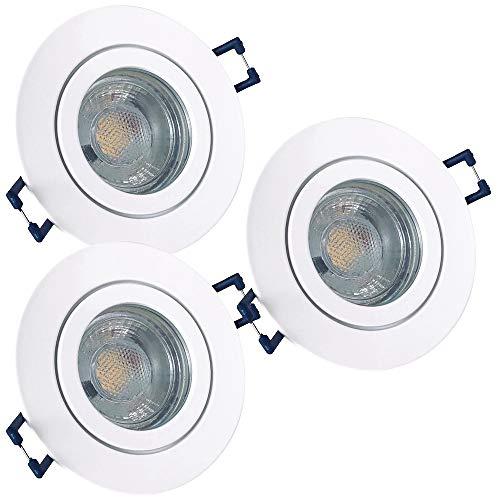 LED Bad Einbaustrahler 230V inkl. 3 x 3W LED LM Farbe Weiß IP44 LED Einbauleuchten Aqua Rund 4000K Deckenspots