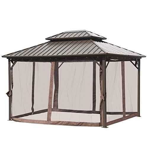 Outsunny Pavillon mit Seitenwände, Partyzelt mit Doppeldach, Festzelt, Gartenlaube, Aluminium, 3,65 x 2,99 x 2,84 m
