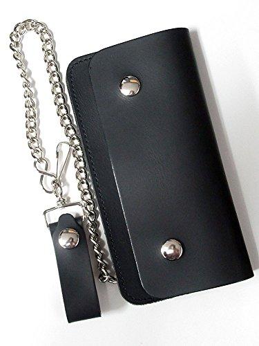 カスタムベースにも使えるシンプルな本革ロングウォレット チェーン付き ブラック(黒)【MADE IN JAPAN(日本製)】