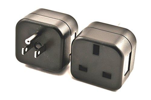 VCT VP18 UK to USA Plug Adapter Converts 3 pin British Plug to 3 Prong Grounded USA Wall Plug,Black